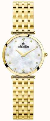 Michel Herbelin Womens epsilon banhado a ouro mãe de discagem pérola 17116/BP89