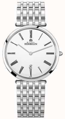 Michel Herbelin Mens pulseira de aço inoxidável epsilon mostrador branco 19416/B01N