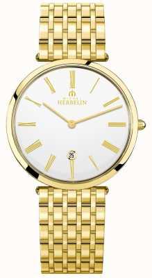 Michel Herbelin Mens epsilon banhado a ouro pulseira mostrador branco 19416/BP01N