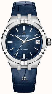 Maurice Lacroix Aikon mostrador azul automático pulseira de couro azul AI6007-SS001-430-1