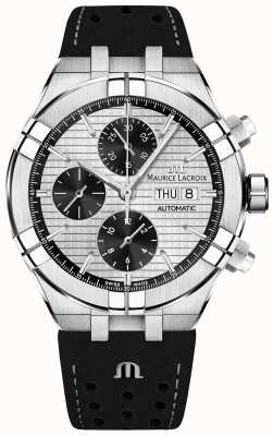 Maurice Lacroix Aikon cronógrafo automático panda preto discar pulseira preta AI6038-SS001-132-1