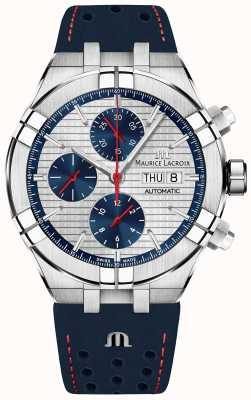 Maurice Lacroix Aikon edição limitada automática blue / red dial blue strap AI6038-SS001-133-1
