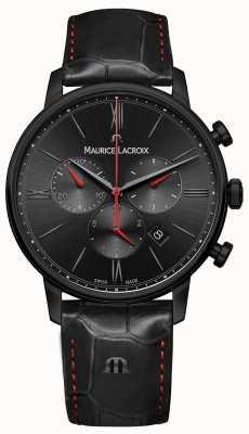 Maurice Lacroix Eliros pvd preto banhado a pulseira de couro preto EL1098-PVB01-310-1