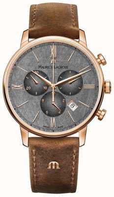 Maurice Lacroix Eliros pulseira de couro marrom com mostrador texturizado EL1098-PVP01-210-1