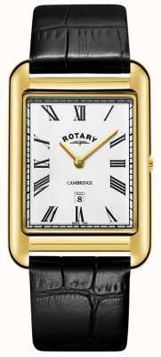 Rotary | gents pulseira banhado a ouro | mostrador branco | GB05283/01