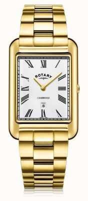 Rotary | pulseira banhada a ouro para homem | mostrador branco | GB05283/01