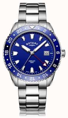 Rotary   gents pulseira de aço inoxidável   mostrador azul   GB05108/05