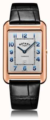Rotary | gents pulseira de couro preto | caso de ouro rosa | GS05284/70