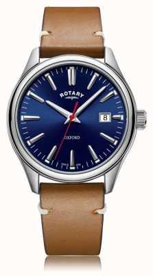 Rotary | pulseira de couro bronzeado para homem | caixa de aço inoxidável | GS05092/53