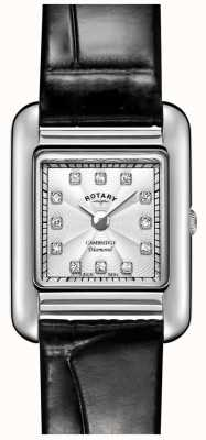 Rotary | senhoras relógio de couro preto | LS05285/70/D