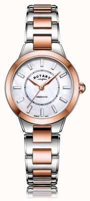 Rotary | senhoras dois tons pulseira de ouro rosa | LB05377/41