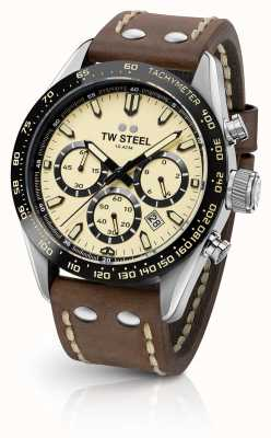 TW Steel | gents pulseira de couro marrom | Cronógrafo Creme | CHS2