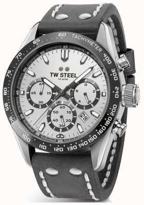 TW Steel | gents pulseira de couro cinza escuro | mostrador prateado | CHS3