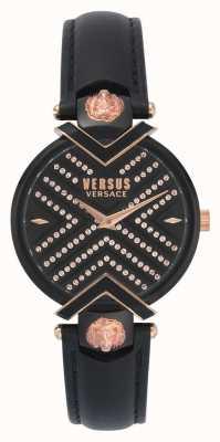Versus Versace | pulseira de couro preto senhoras | mostrador estampado | VSPLH1519
