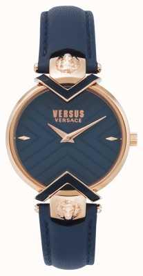 Versus Versace | pulseira de couro azul senhoras com ouro rosa | VSPLH0419