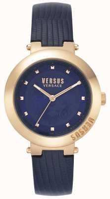Versus Versace | pulseira de couro azul para senhoras | caixa de ouro rosa | VSPLJ0419