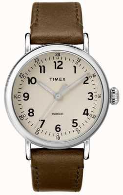 Timex | pulseira de couro de oliva dos homens | mostrador cinza | TW2T20100D7PF