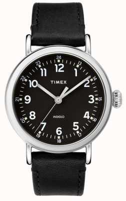 Timex | pulseira de couro preto mens | mostrador preto | TW2T20200D7PF