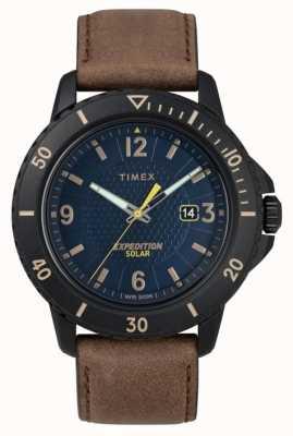 Timex | couro marrom solar gallatin | mostrador azul | TW4B14600D7PF