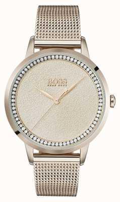 Hugo Boss | senhoras rosa pálido pulseira de malha de ouro | 1502464