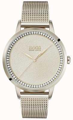 Boss | senhoras rosa pálido pulseira de malha de ouro | 1502464