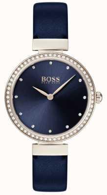 Hugo Boss | pulseira de couro azul senhoras | mostrador azul | 1502477