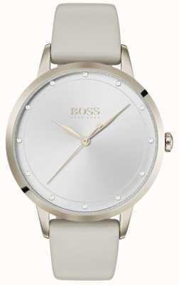 Hugo Boss | pulseira de couro branco senhoras | mostrador branco | 1502461