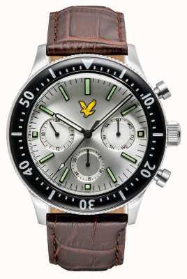 Lyle & Scott Mens jacklin pulseira de couro marrom mostrador prateado LS-6009-01