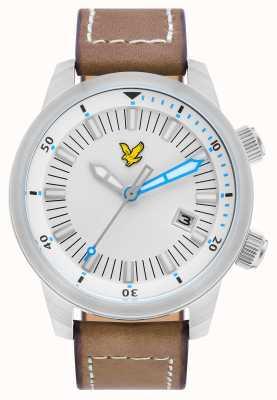 Lyle & Scott Mens pulseira de couro marrom beira branca discagem LS-6010-01
