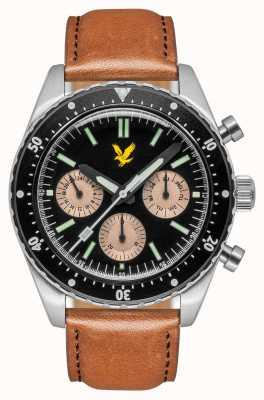 Lyle & Scott Mens highland marrom pulseira de couro mostrador preto LS-6011-01