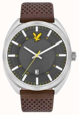 Lyle & Scott Mens tevio pulseira de couro marrom cinza LS-6015-01