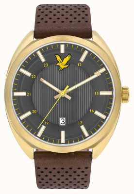 Lyle & Scott Mens tevio pulseira de couro marrom cinza LS-6015-03