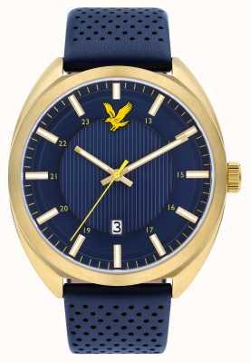 Lyle & Scott Mens tevio pulseira de couro azul mostrador azul LS-6015-04