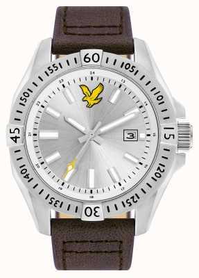 Lyle & Scott Mens tático pulseira de couro marrom mostrador prateado LS-6017-02