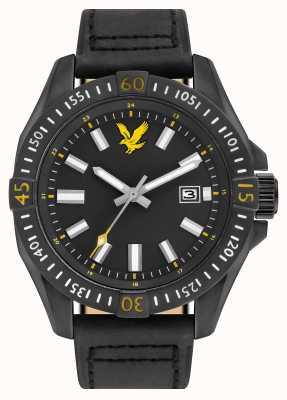Lyle & Scott Mens tático pulseira de couro preto mostrador preto LS-6017-03