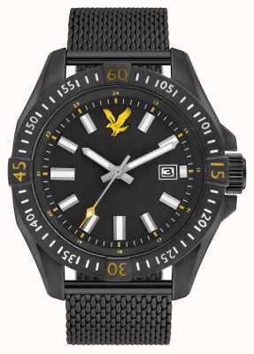 Lyle & Scott Mens pvd preto tático banhado malha pulseira mostrador preto LS-6017-22