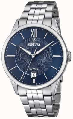 Festina | pulseira masculina de aço inoxidável | mostrador azul | F20425/2