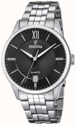 Festina   pulseira de aço inoxidável mens   mostrador preto   F20425/3