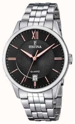 Festina   pulseira de aço inoxidável mens   mostrador preto / rosa   F20425/6