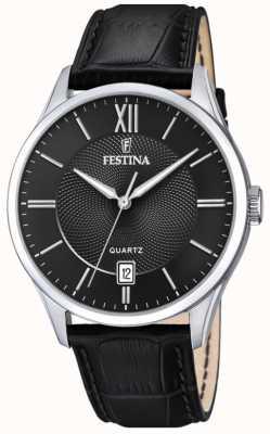 Festina | aço inoxidável masculino | pulseira de couro preta | mostrador preto | F20426/3