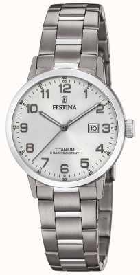 Festina | relógio de titânio para mulher | mostrador prateado | pulseira de titânio | F20436/1