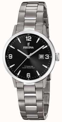 Festina | relógio de titânio para mulher | mostrador preto | pulseira de titânio | F20436/3