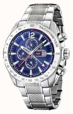 Festina | cronógrafo mens & dual time | mostrador azul | pulseira de aço F20439/2