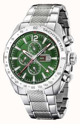 Festina | cronógrafo mens & dual time | mostrador verde | pulseira de aço F20439/3