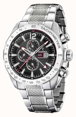 Festina | cronógrafo e hora dupla para homens | mostrador preto | pulseira de aço F20439/4