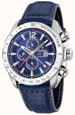 Festina | cronógrafo mens & dual time | mostrador azul | pulseira de couro F20440/2