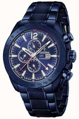 Festina | cronógrafo folheado a azul para homem | pulseira de aço inoxidável | F20442/1