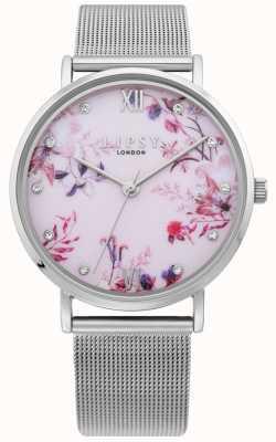 Lipsy | pulseira de malha de prata das mulheres | mostrador floral rosa pálido | LP643