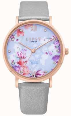 Lipsy | pulseira de couro cinza das mulheres | mostrador floral azul pálido | LP657
