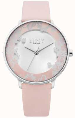 Lipsy | pulseira de couro branco das mulheres | discagem sunray prata | LP659